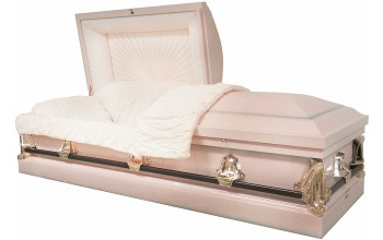 8485 - 20ga, No Seal, Pink w/Silver Accents Pink Crepe, Silver Rose Hardware